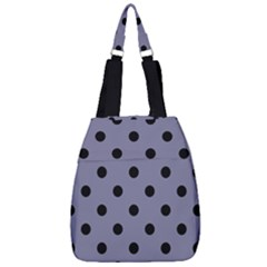 Large Black Polka Dots On Flint Grey - Center Zip Backpack