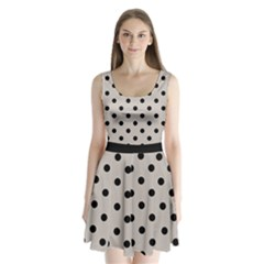Large Black Polka Dots On Pale Grey - Split Back Mini Dress