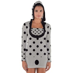 Large Black Polka Dots On Silver Cloud Grey - Long Sleeve Hooded T-shirt