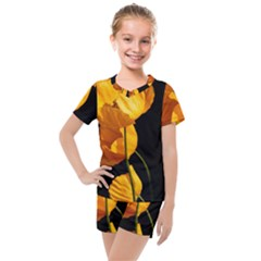 Yellow Poppies Kids  Mesh Tee And Shorts Set