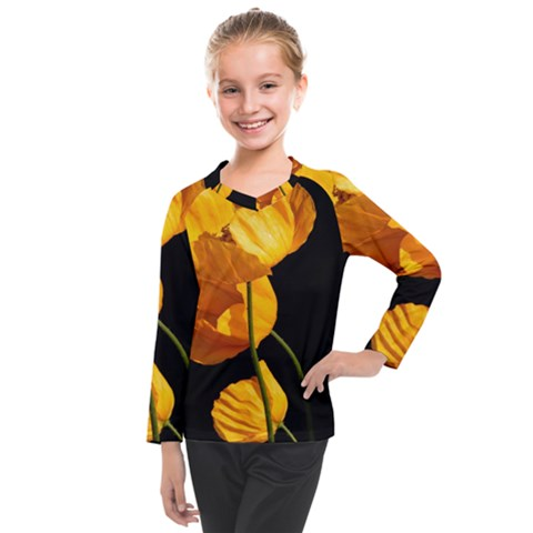 Yellow Poppies Kids  Long Mesh Tee by Audy