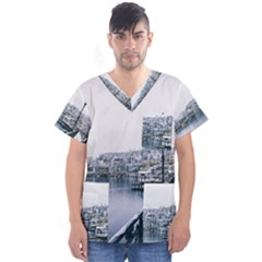 Winter Season Men s V-neck Scrub Top