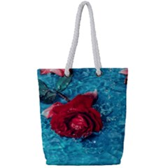 Red Roses In Water Full Print Rope Handle Tote (small)