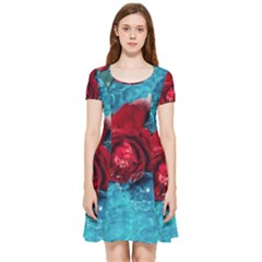 Red Roses In Water Inside Out Cap Sleeve Dress