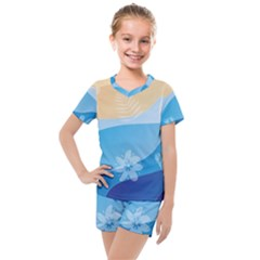 Flower Branch Corolla Wreath Lease Kids  Mesh Tee And Shorts Set