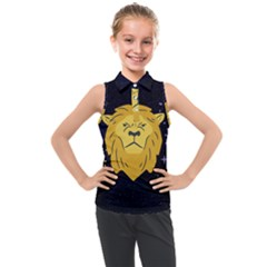 Zodiak Leo Lion Horoscope Sign Star Kids  Sleeveless Polo Tee