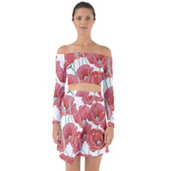 Red Poppy Flowers Off Shoulder Top With Skirt Set