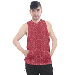 Red Sashiko Men s Sleeveless Hoodie