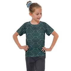 Green Sashiko Kids  Mesh Piece Tee