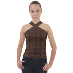Milk Chocolate Cross Neck Velour Top by goljakoff