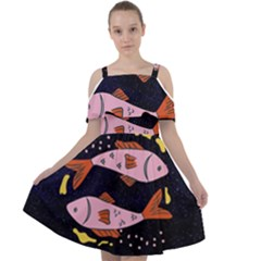 Fish Pisces Astrology Star Zodiac Cut Out Shoulders Chiffon Dress