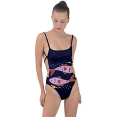 Fish Pisces Astrology Star Zodiac Tie Strap One Piece Swimsuit