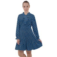 Plaid Background Blue All Frills Chiffon Dress
