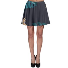 Flower Illustrations Leaves Skater Skirt