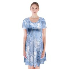 Blue Alcohol Ink Short Sleeve V-neck Flare Dress