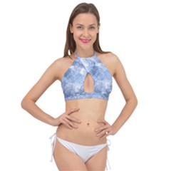 Blue Alcohol Ink Cross Front Halter Bikini Top