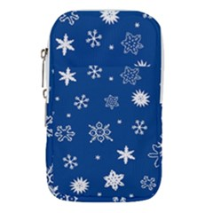 Christmas Seamless Pattern With White Snowflakes On The Blue Background Waist Pouch (large)