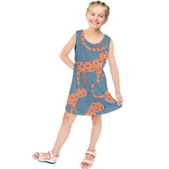 Vector Seamless Pattern With Cute Orange And  Cheetahs On The Blue Background  Tropical Animals Kids  Tunic Dress