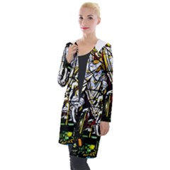 Christian Window Glass Art Print Hooded Pocket Cardigan