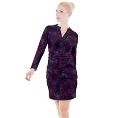 Purple Alcohol Ink Button Long Sleeve Dress