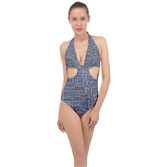 Dark Denim With Letters Halter Front Plunge Swimsuit