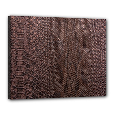 Leather Snakeskin Design Canvas 20  X 16  (stretched)