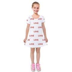 Flower Decorated Love Text Motif Print Pattern Kids  Short Sleeve Velvet Dress by dflcprintsclothing