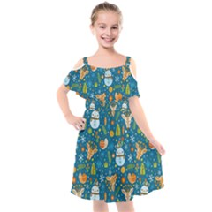 Snowman Deer Snowman Deer Kids  Cut Out Shoulders Chiffon Dress