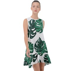 Illustrations Monstera Leafes Frill Swing Dress