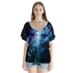 The Galaxy V-neck Flutter Sleeve Top by ArtsyWishy