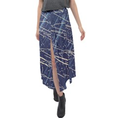 Blue Depths, Niagara & Almond Oil #2 Velour Split Maxi Skirt