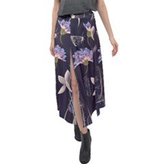 Butterflies And Flowers Painting Velour Split Maxi Skirt