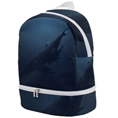 Blue Whale Family Zip Bottom Backpack by goljakoff