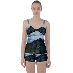 Mountain Landscape Tie Front Two Piece Tankini
