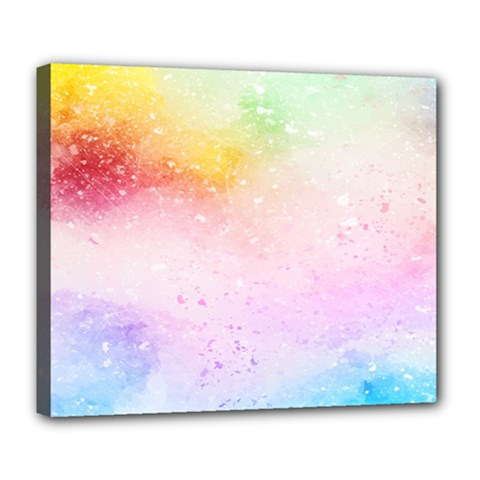 Rainbow Splashes Deluxe Canvas 24  X 20  (stretched) by goljakoff