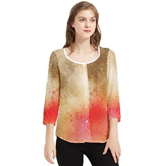 Golden Paint Chiffon Quarter Sleeve Blouse