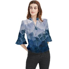 Blue Mountain Loose Horn Sleeve Chiffon Blouse
