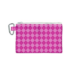 Pink Diamond Pattern Canvas Cosmetic Bag (small)
