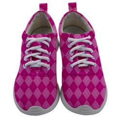 Pink Diamond Pattern Mens Athletic Shoes by ArtsyWishy