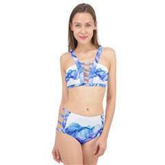 Blue Smoke Cage Up Bikini Set