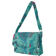 Green Vivid Marble Pattern 2 Full Print Messenger Bag (l)