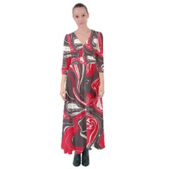 Red Vivid Marble Pattern 3 Button Up Maxi Dress by goljakoff