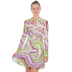 Vector Vivid Marble Pattern 6 Long Sleeve Panel Dress