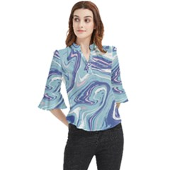 Blue Vivid Marble Pattern Loose Horn Sleeve Chiffon Blouse