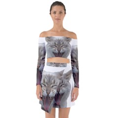 Screaming Cat Off Shoulder Top With Skirt Set
