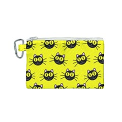 Cats Heads Pattern Design Canvas Cosmetic Bag (small)