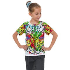 Brain Mind Psychology Idea Hearts Kids  Mesh Piece Tee