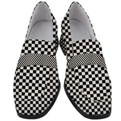 Black And White Checkerboard Background Board Checker Women s Chunky Heel Loafers