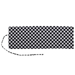 Black And White Checkerboard Background Board Checker Roll Up Canvas Pencil Holder (m)