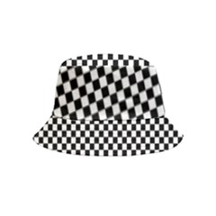 Black And White Checkerboard Background Board Checker Bucket Hat (kids)